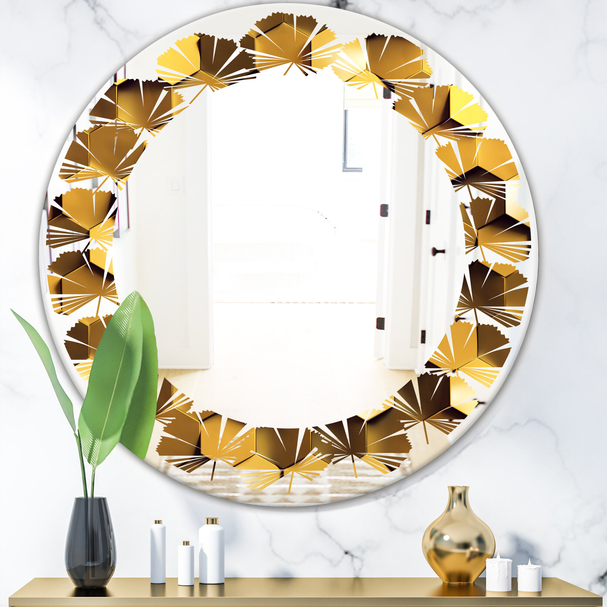 East Urban Home Leaves Honeycomb Wall Texture Coastal Frameless Wall Mirror