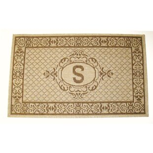 Lexington Monogram Brown Indoor/Outdoor Area Rug