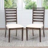 Slagelse Upholstered Solid Wood Ladder Back Side Chair in Brown (Set of 2) by Red Barrel Studio®