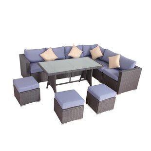 Brayden Studio Millman Rattan 10 Piece Dining Set with Cushions