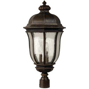 Solar powered post lights youll love wayfair oakhill 3 light post lantern aloadofball Image collections