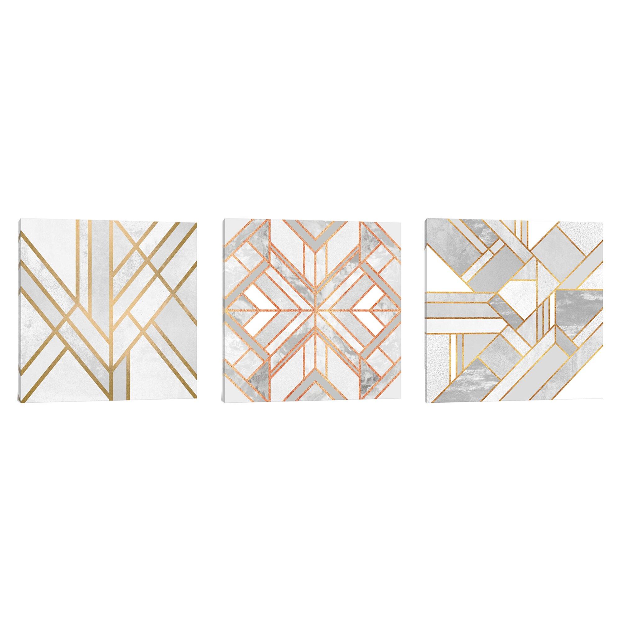 Hykkon Gold Marble Art Triptych 3 Piece Graphic Art Set On Wrapped Canvas Wayfair Co Uk