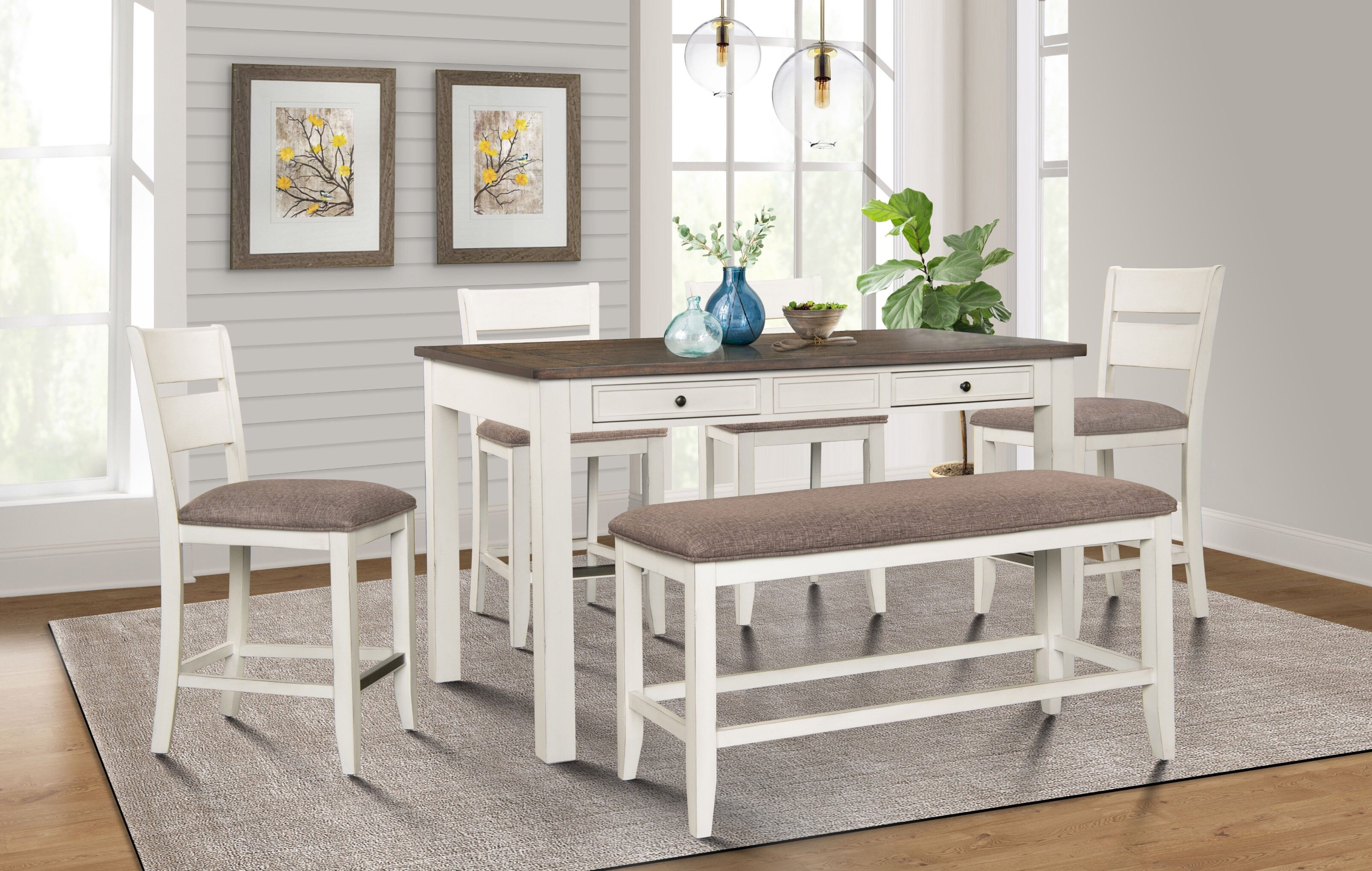 Gracie Oaks Gambrills 6 Piece Counter Height Dining Set Wayfair