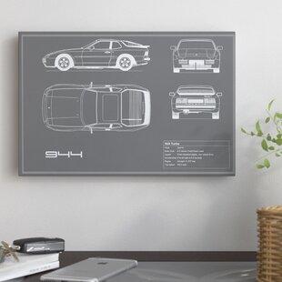 'Porsche 944 Turbo' Graphic Art Print on Canvas in Gray ByEast Urban Home