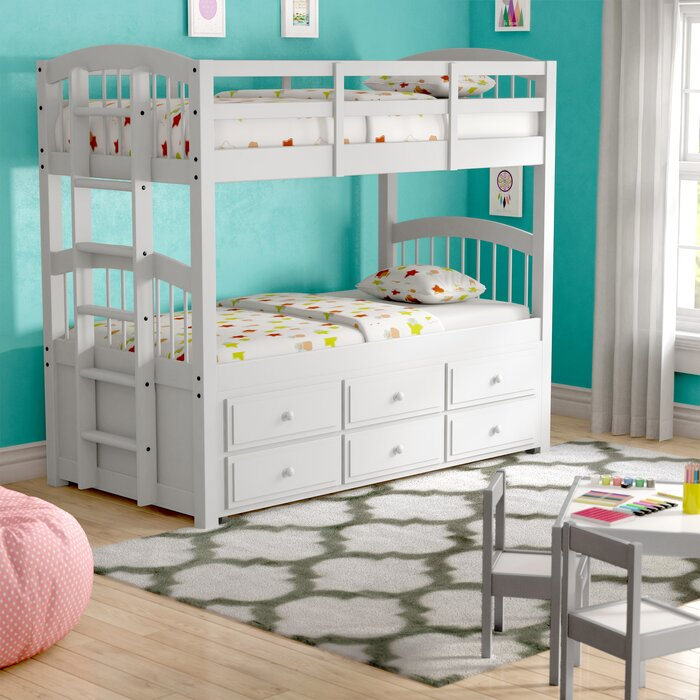 Octavius Twin Bunk Bed With Trundle And Drawers