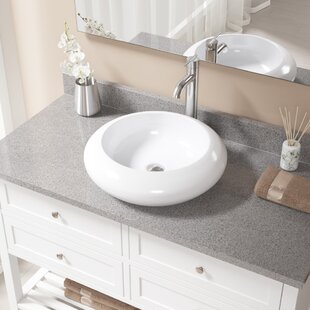 Price Check Vitreous China Circular Vessel Bathroom Sink with Faucet ByMR Direct