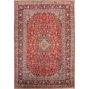 One-of-a-Kind Ellaville Kashan Persian Hand-Knotted 8' 1'' x 11' 11'' Wool Red/Burgundy Area Rug ByIsabelline