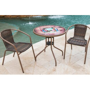 Panama Jack Outdoor Cafe of the Boards 3 Piece Bistro Set