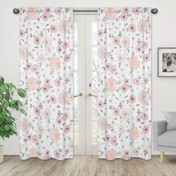 Sweet Jojo Designs Watercolor Floral Semi Sheer Rod Pocket Curtain Panels Reviews Wayfair