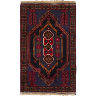 Reviews One-of-a-Kind Charity Hand-Knotted 2'10 x 4'7 Wool Blue/Burgundy Area Rug ByMillwood Pines