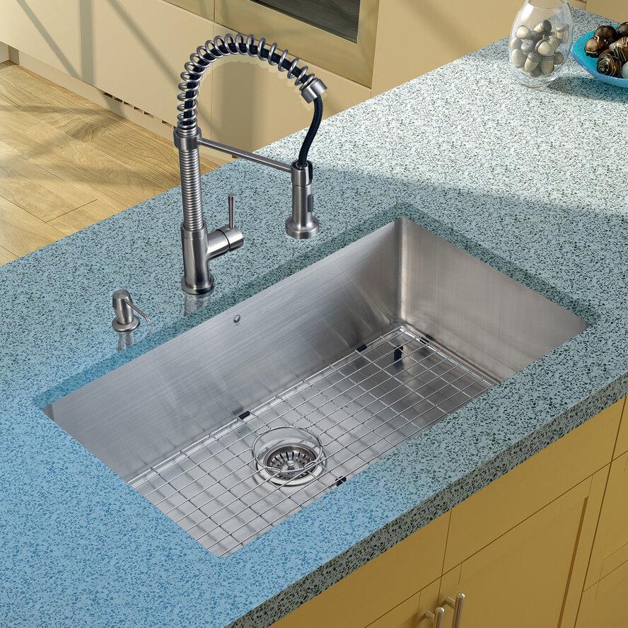VIGO 32 inch Undermount Single Bowl 16 Gauge Stainless Steel Kitchen ...