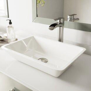 Affordable Phoenix Stone Rectangular Vessel Bathroom Sink with Faucet By VIGO