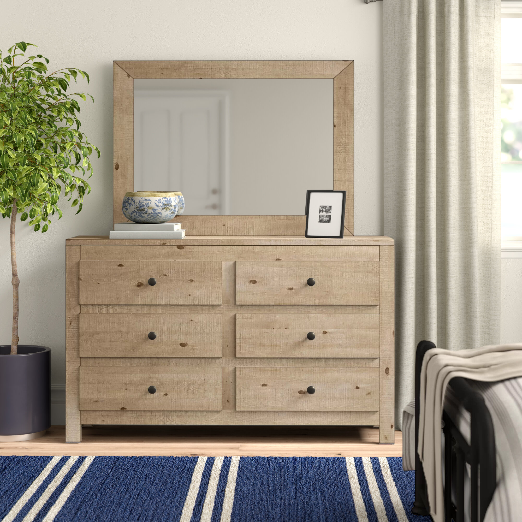 Three Posts Sedgefield 6 Drawer Double Dresser With Mirror Reviews Wayfair