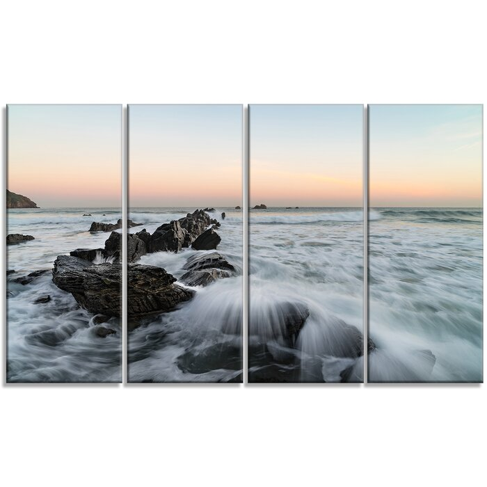 Designart Bay Of Biscay White Waves Hitting Beach Graphic Art Print Multi Piece Image On Wrapped Canvas Wayfair