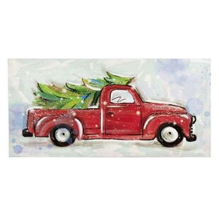 christmas tree in red truck led graphic art print on canvas