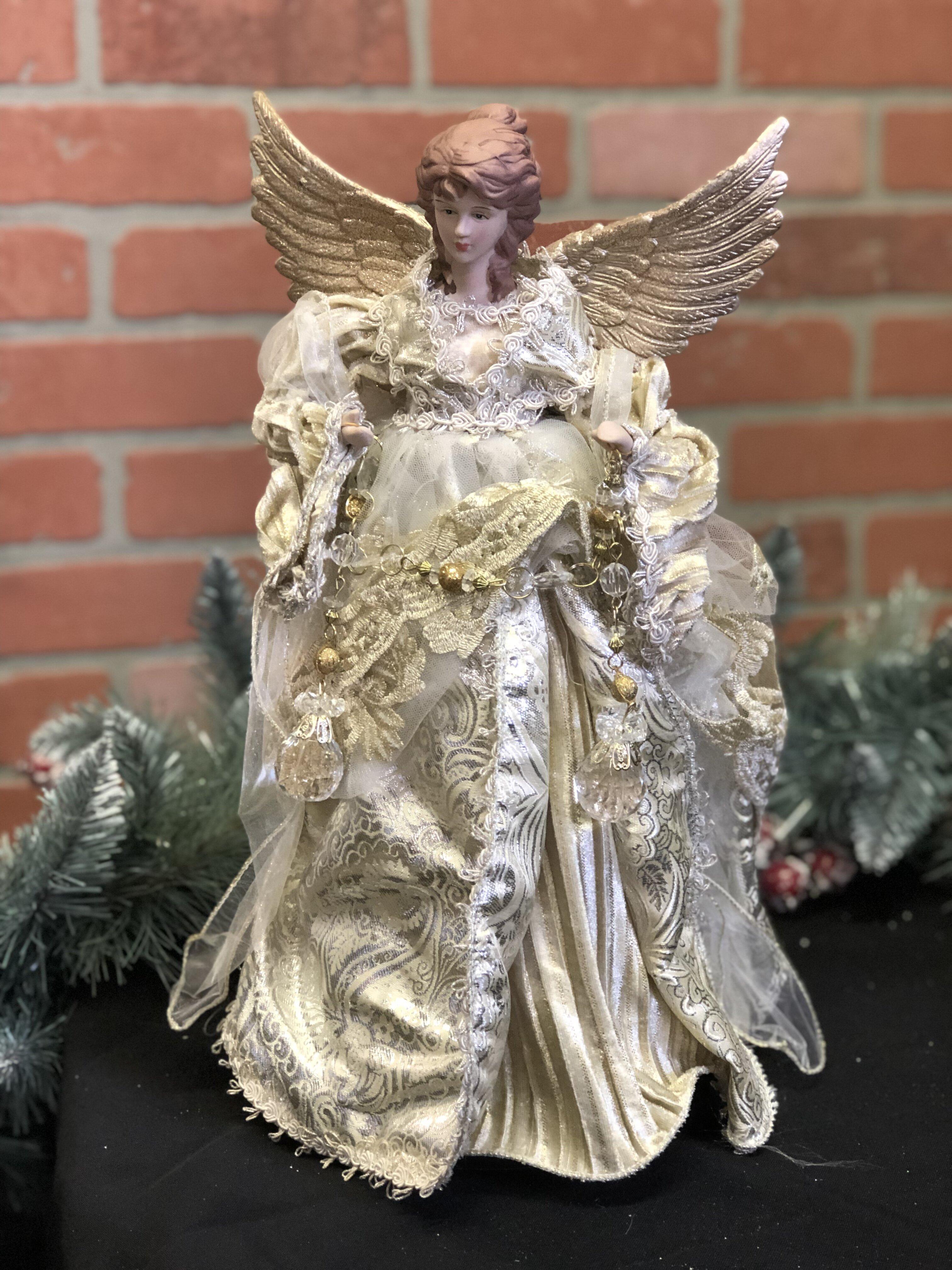 Santas Workshop 16 Aqua /& Gold Tree Topper Angel Aqua