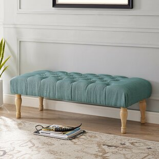Puente Upholstered Button Tufted Turned Leg Bench