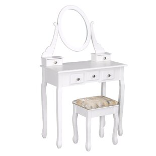 House of Hampton Cavin Vanity Set with Mirror