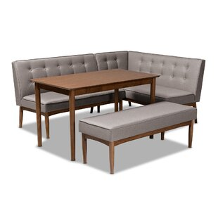 Bopp Mid-Century Modern Upholstered 4 Piece Breakfast Nook Dining Set by Corrigan Studio