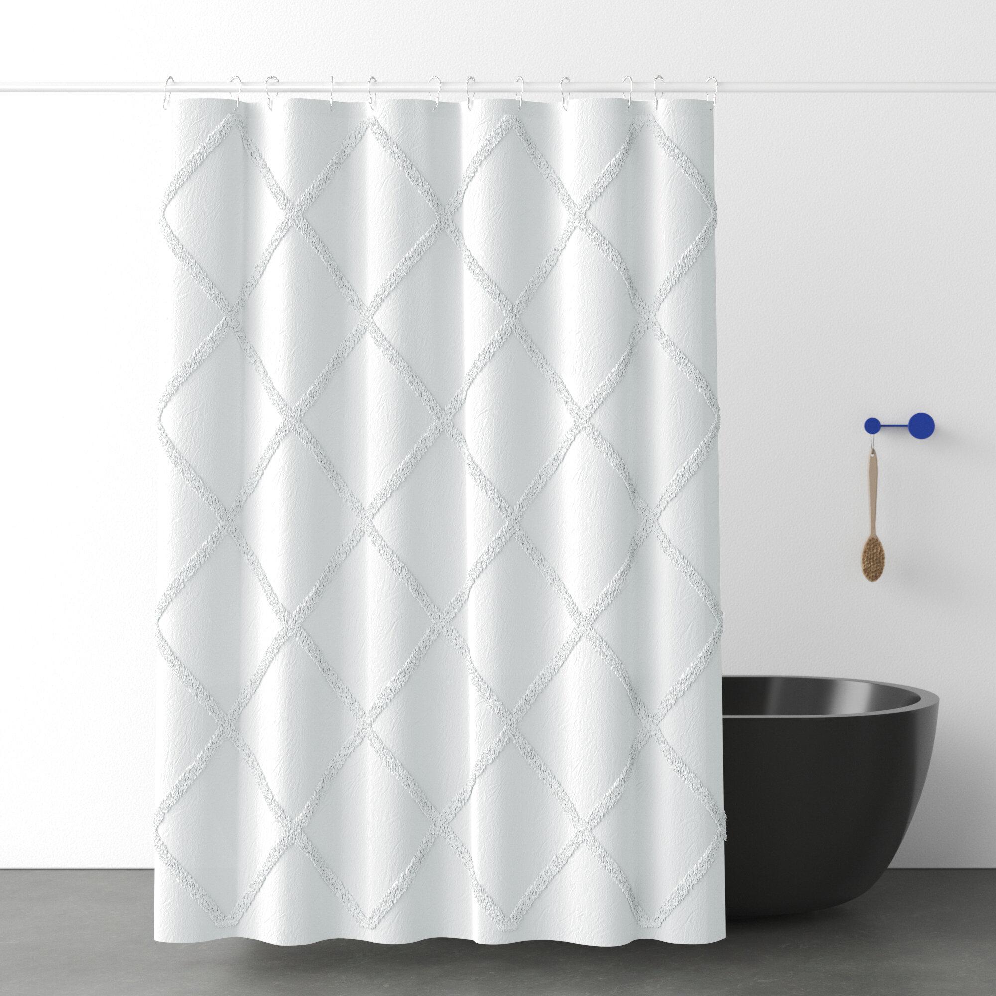 Allmodern 100 Cotton Geometric Single Shower Curtain Reviews Wayfair