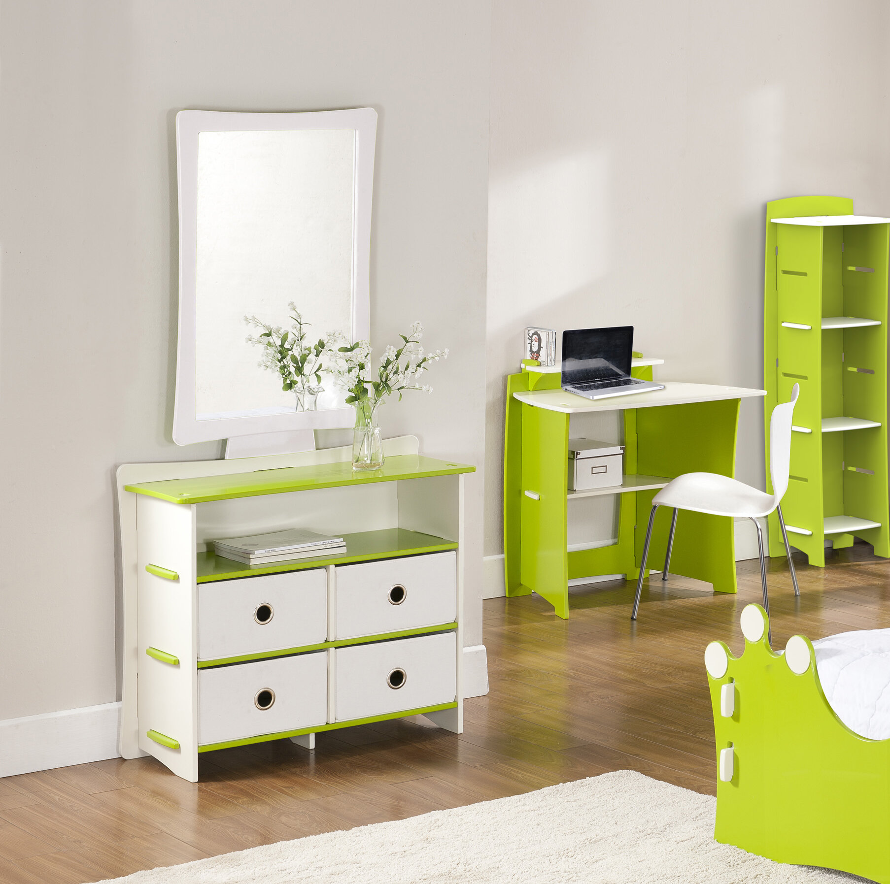 Legare Furniture Legare Kids 4 Drawer Double Dresser with Mirror