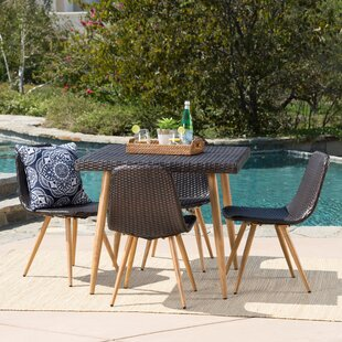 Biondo Outdoor Wicker 5 Piece Dining Set