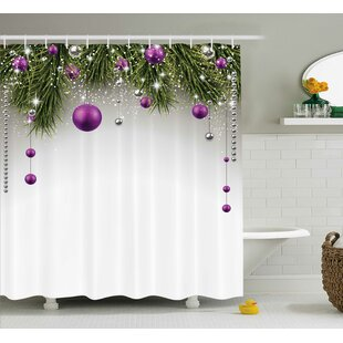 Christmas Tree Decorations Shower Curtain + Hooks By The Holiday Aisle