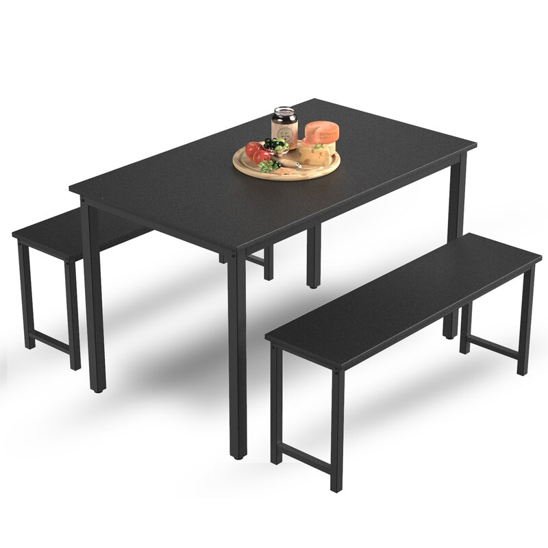Latitude Run Dining Table Sets 3 Pieces Farmhouse Kitchen Table Set With Benches Mdf Board And Sturdy Metal Frame Home Kitchen Furniture Black Reviews