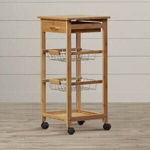 Girard Kitchen Cart with Bamboo Top by August Grove