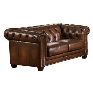 Dusty Leather Chesterfield Loveseat by Canora Grey Bargain