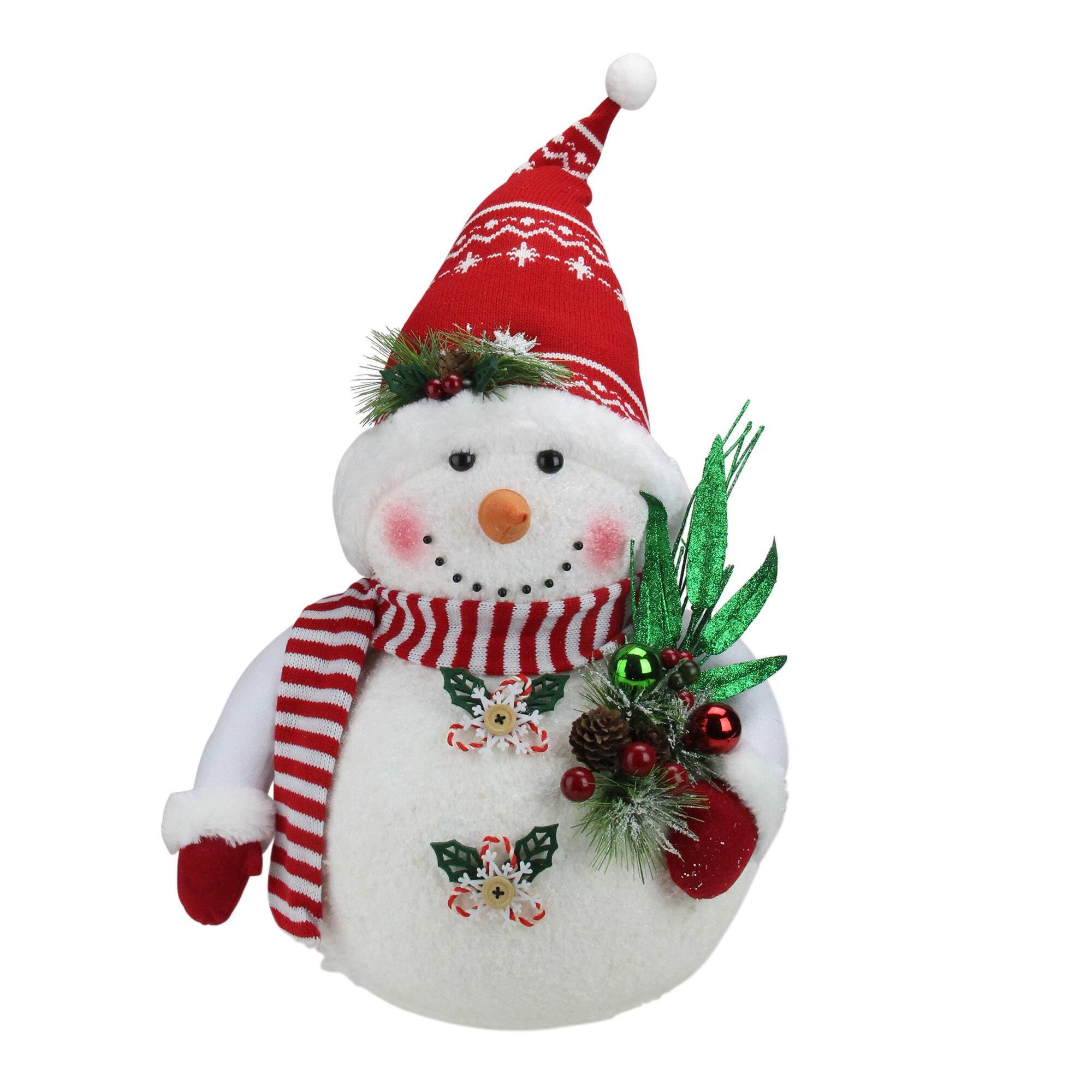Northlight Alpine Chic Sparkling Snowman With Nordic Style Santa Hat Christmas Decoration Wayfair