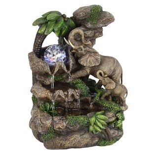 Polyresin Elephant Table Fountain With LED Light