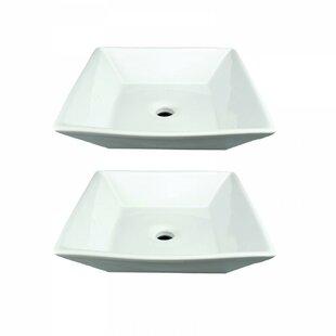 Top Reviews Vitreous China Square Vessel Bathroom Sink (Set of 2) ByThe Renovators Supply Inc.