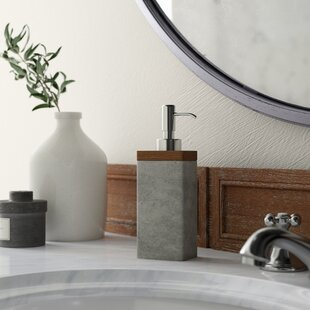 Stonington Concrete Stone/Wooden Soap & Lotion Dispenser By Greyleigh