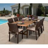 Arango 9 Piece Teak Dining Set with Cushions
