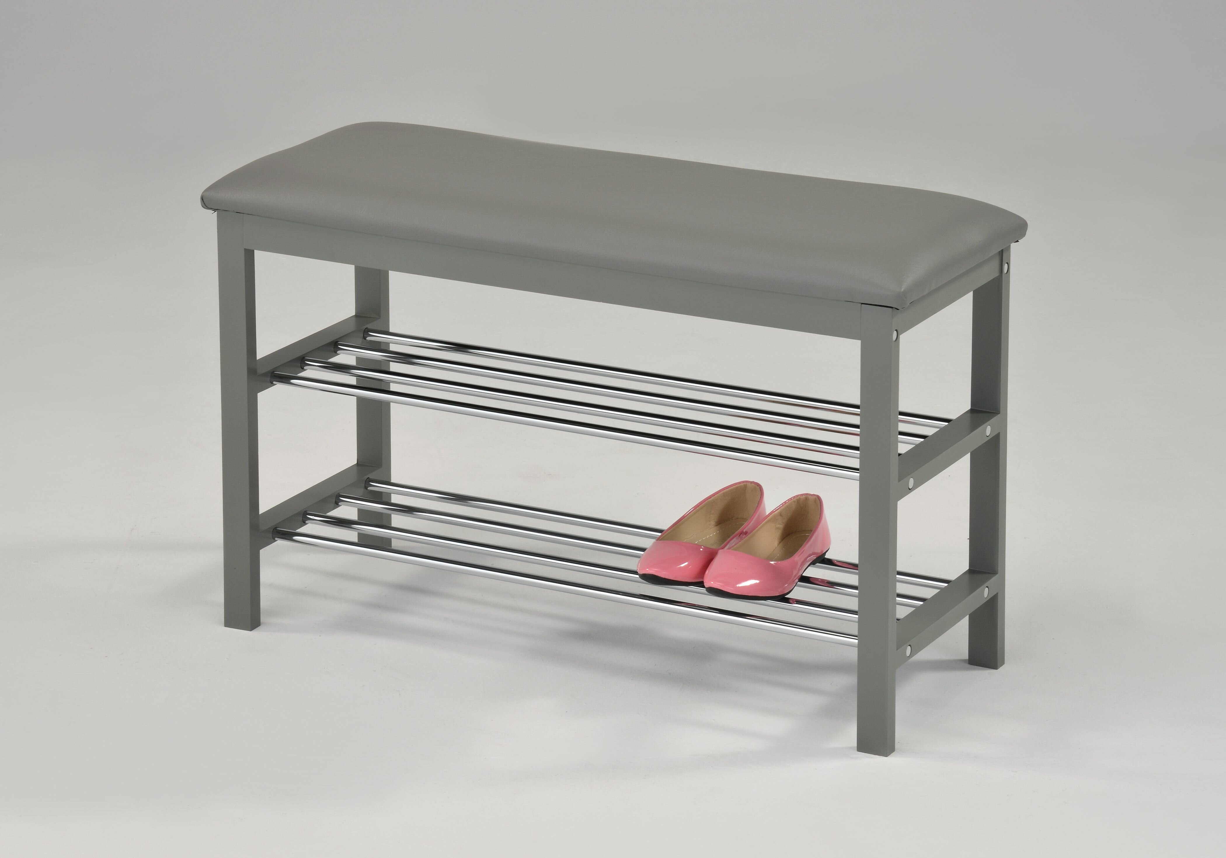 Winston Porter Entryway Upholstered Rack 8 Pair Shoe Storage Bench