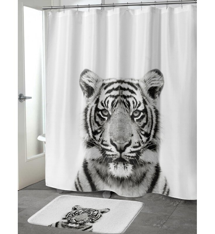 Tiger in the Dark 100/% Polyester Fabric Shower Curtain Set Bathroom w// Hooks