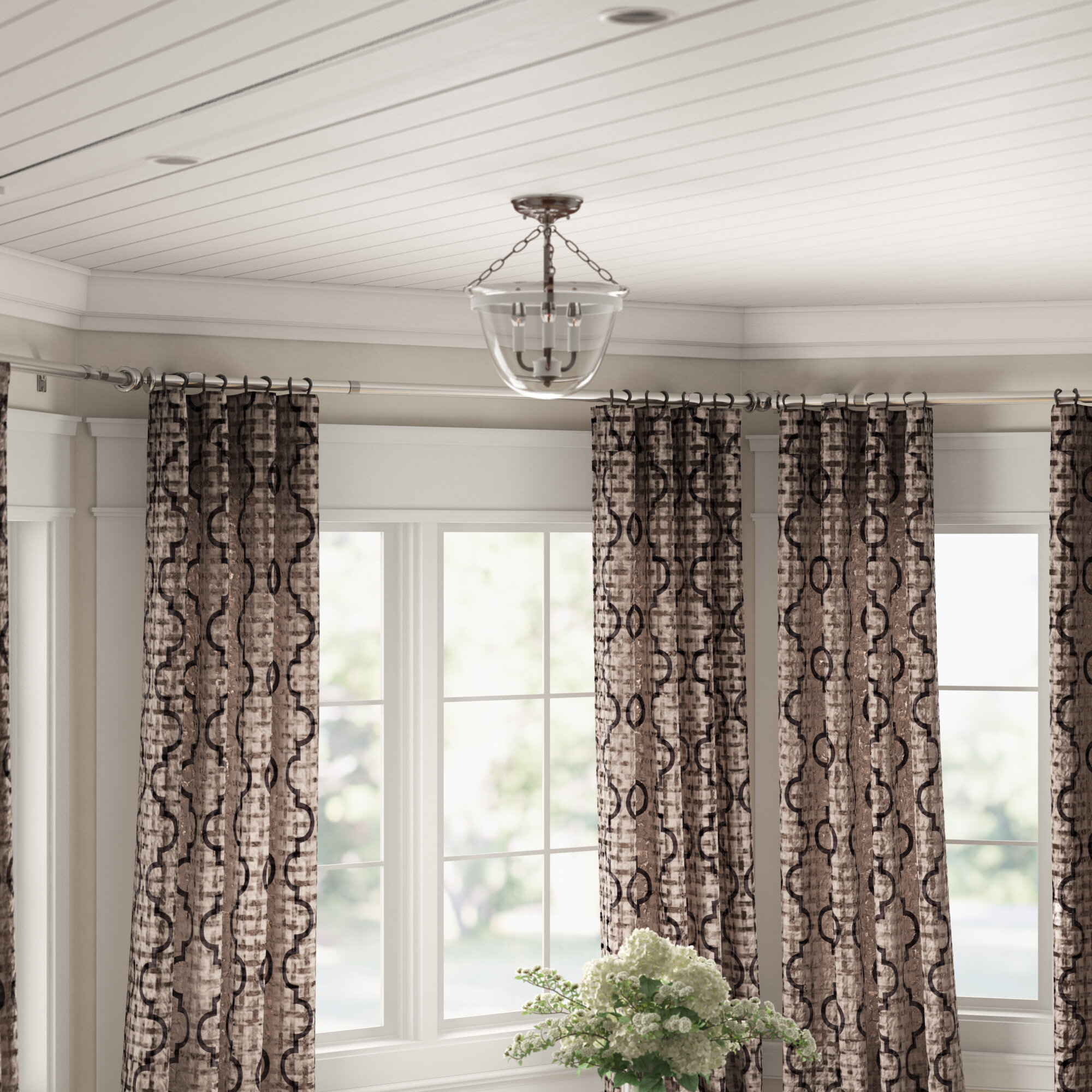Picture of: Winston Porter Leavy Bay Window Single Curtain Rod Hardware Set Reviews Wayfair
