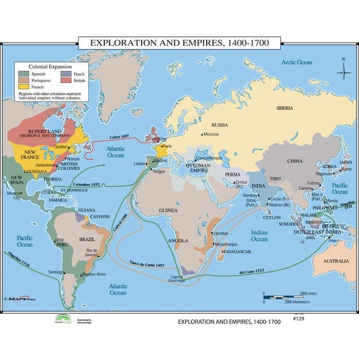 world history wall maps exploration empires 1400 1700