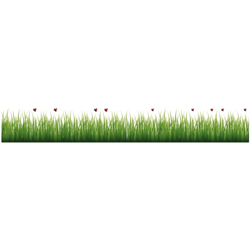 wallpops! grass and ladybugs border wall decal & reviews | wayfair.ca