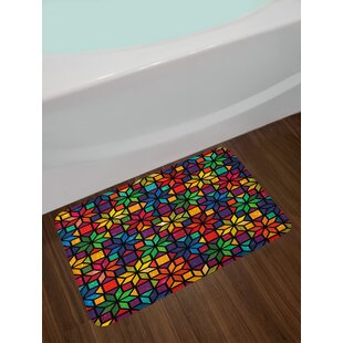 Geometric Windows Glass Inspired Colored Image with Flowers Like Artwork Print Non-Slip Plush Bath Rug