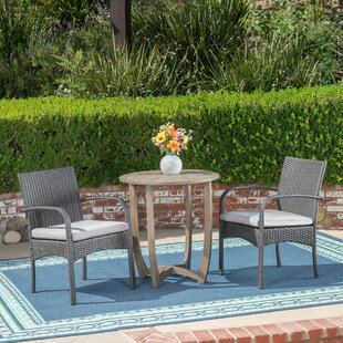 Ebern Designs Moseley 3 Piece Bistro Set with Cushions