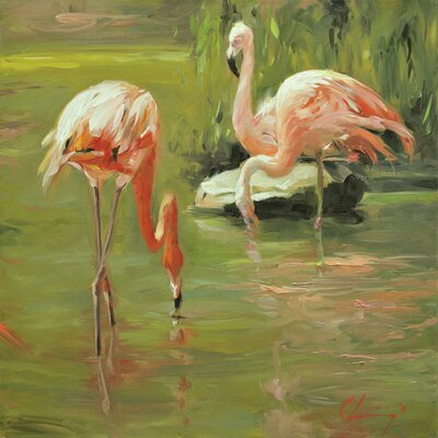 Bay Isle Home 'Flamingo II' Painting Print on Canvas Size: 37 H x 37 W x 1.5 D