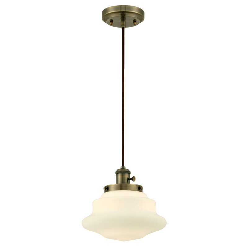 1-Light Schoolhouse Pendant #milkglass #schoolhouselight
