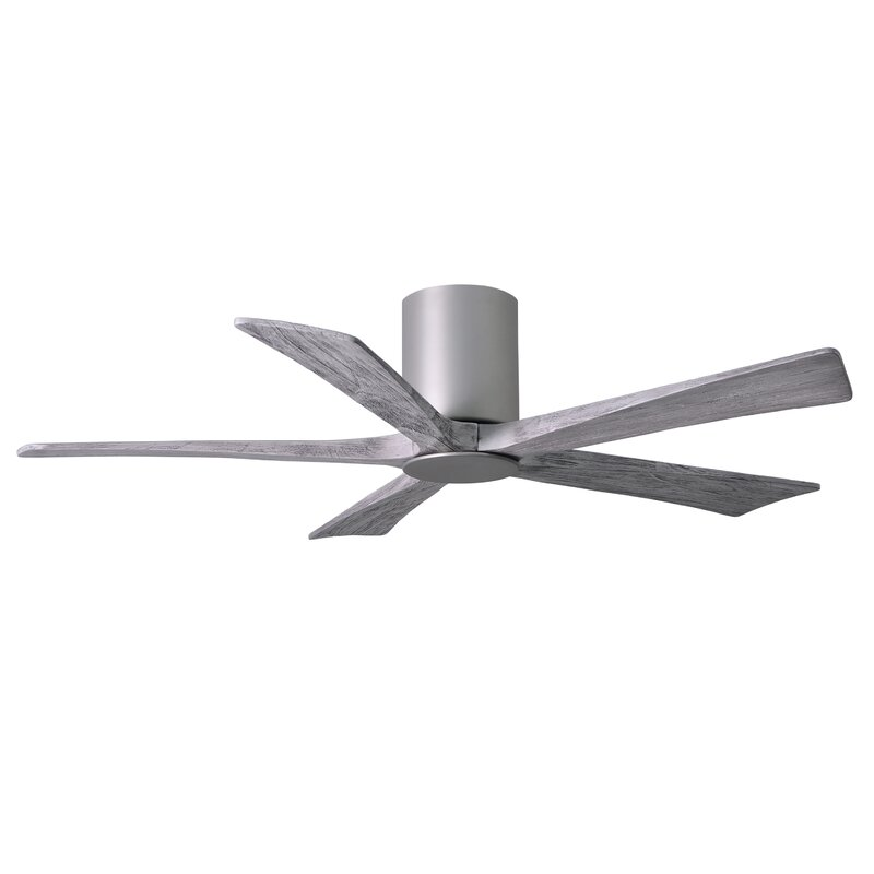 52 Inch Flush Mount Ceiling Fan With Light And Remote