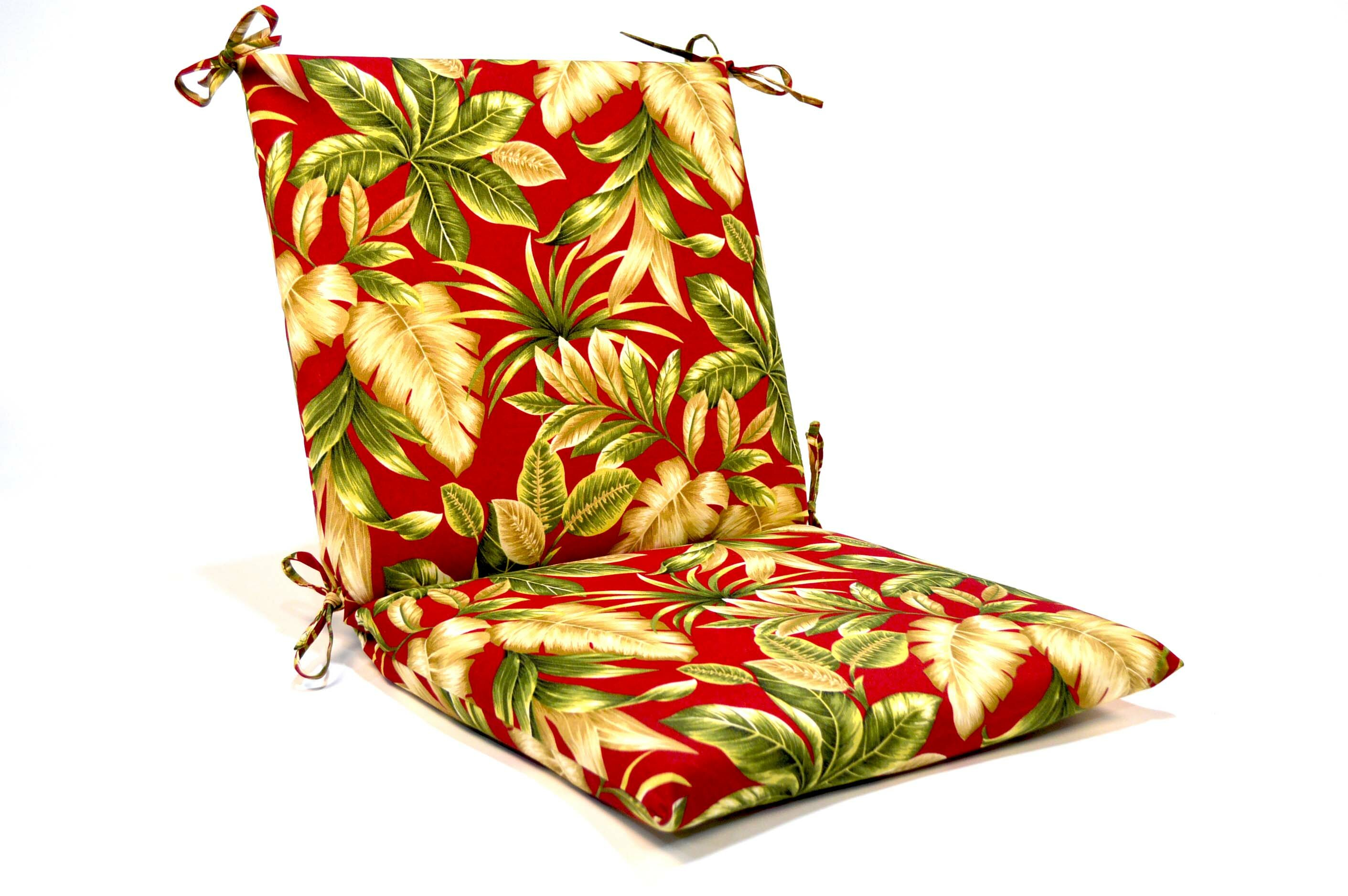 Tropical Floral Iron High Back Indoor Outdoor Lounge Chair Cushion