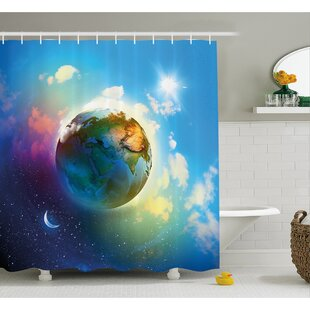 Earth Outer Space Scene in Vibrant Color Enchanted Cosmos Atmosphere Image Shower Curtain Set
