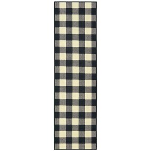 ae5510773728 Wiest Gingham Check Black/Ivory Indoor/Outdoor Area Rug
