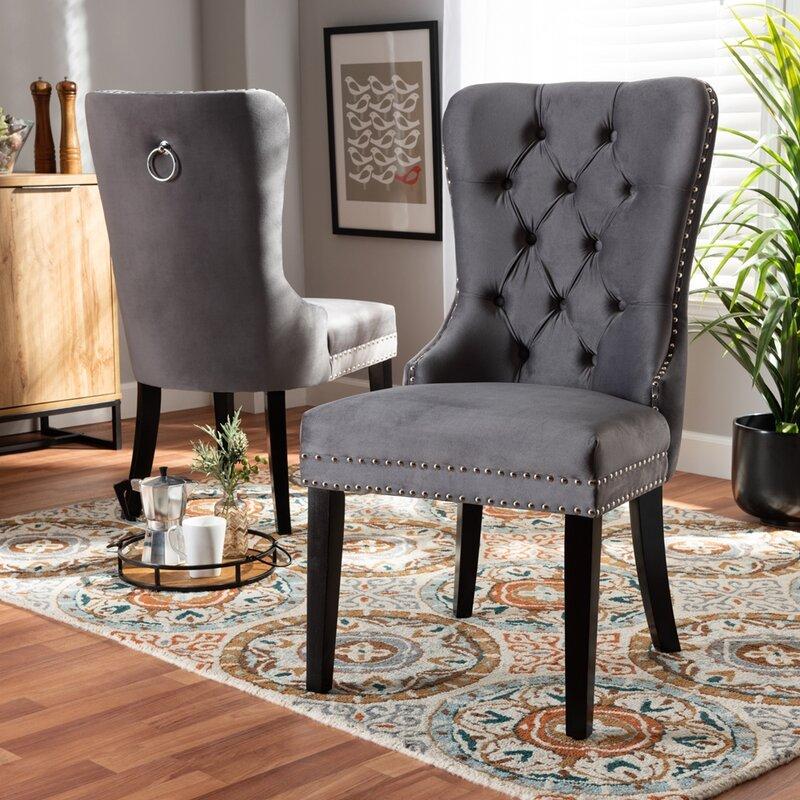 Everly Quinn Ishiro Tufted Upholstered Windsor Back Side Chair Wayfair