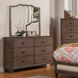 Gracie Oaks Oriane 6 Drawer Double Dresser with Mirror Image
